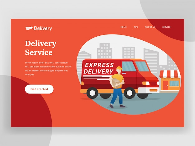 Strona docelowa usługi dostawy online z vanem