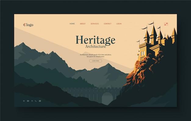 Strona docelowa witryny dla dziedzictwa, miejsca historycznego, pałacu, architekta, dziedzictwa architektonicznego. krajobraz starożytnego zamku na szczycie góry. popołudniowe światło słoneczne, płaska konstrukcja ilustracji.
