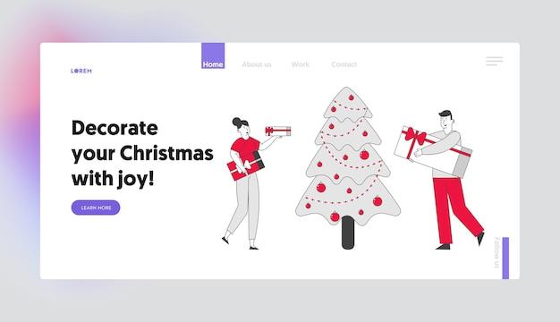 Strona docelowa witryny firmowej lub domowej uroczystości bożonarodzeniowej