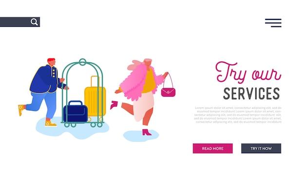 Strona docelowa witryny hotelarskiej. spotkanie personelu hotelu z gościem przewożącym bagaż wózkiem.