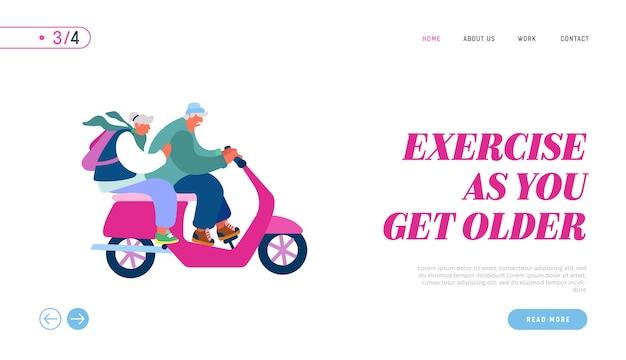 Strona docelowa witryny internetowej dla seniorów prowadzących skutery.