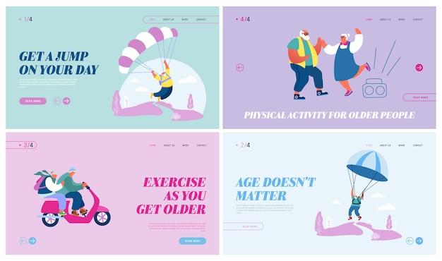 Strona docelowa witryny internetowej osób starszych aktywnego stylu życia