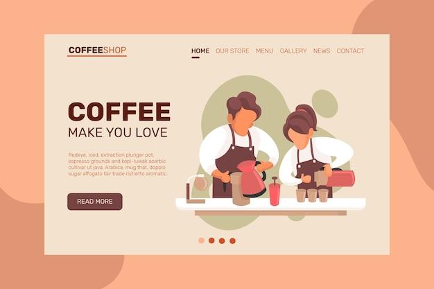 Strona docelowa witryny kawiarni, strona internetowa. kreskówka mieszkanie