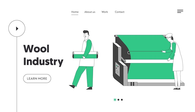 Strona docelowa witryny nowoczesnej fabryki tekstyliów wełnianych