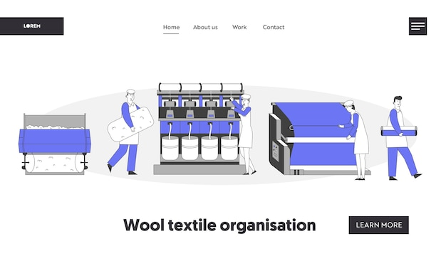 Strona docelowa witryny nowoczesnej fabryki tekstyliów