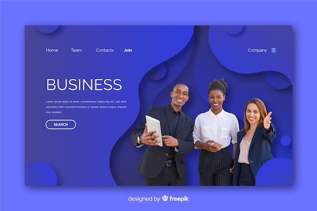 Strona docelowa wykonana dla biznesu ze zdjęciem