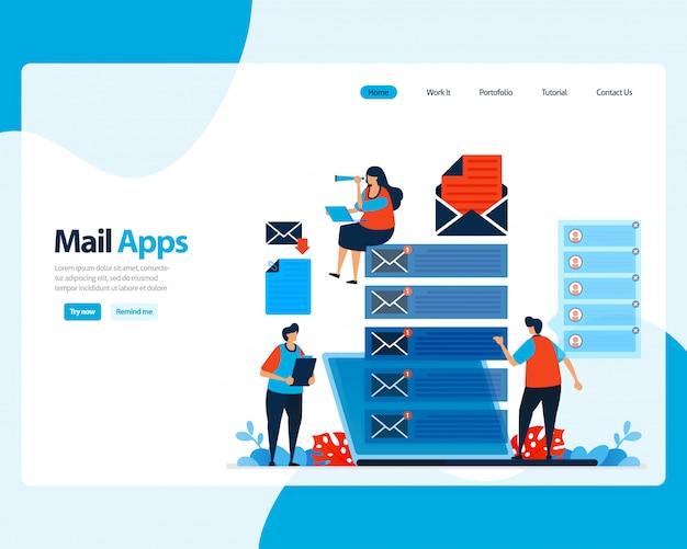 Strona docelowa wysyłania, odbierania, zarządzania pocztą e-mail. planowanie pracy z cyfrowymi usługami e-mail dla firm. ilustracja