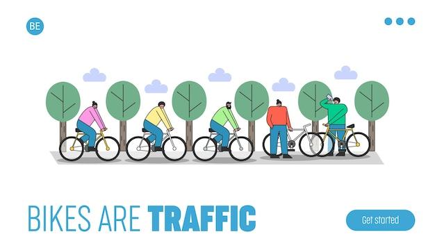 Strona docelowa z grupą ludzi jadących na rowerach w parku. kreskówka mężczyzna i kobieta na rowerach