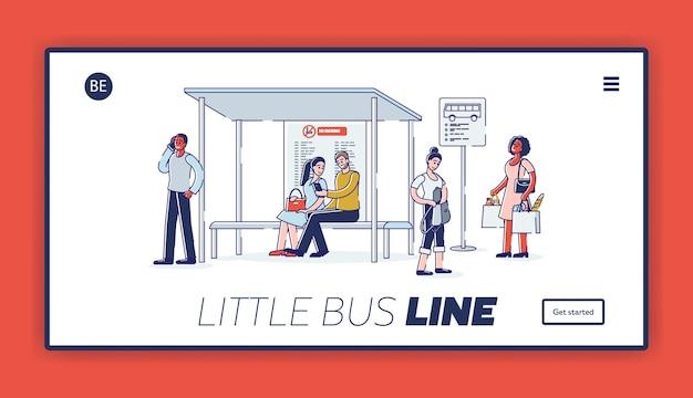 Strona docelowa z grupą ludzi na dworcu autobusowym