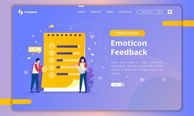 Strona docelowa z ilustracjami z list emotikonów dla opinii klientów