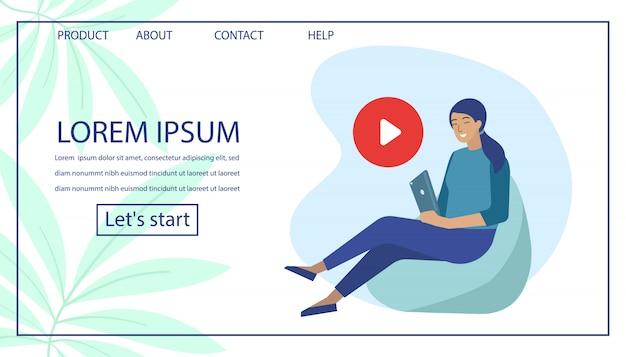 Strona docelowa z kobietą użyj odtwarzacza wideo na tablecie