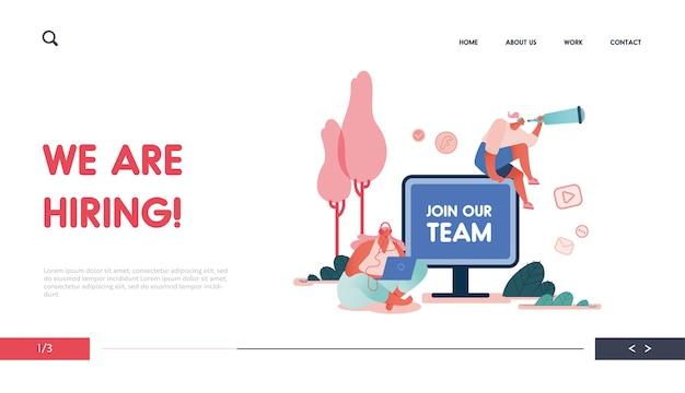 Strona docelowa z kobietami i komputerami polecająca projekt koncepcyjny przyjaciela, strona internetowa z postaciami ludzi udostępnia informacje o poleceniach i zarabianie pieniędzy. sieć, interfejs użytkownika, aplikacja mobilna, szablon.