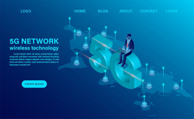 Strona docelowa z koncepcją bezprzewodowej technologii 5g. koncepcja technologii i telekomunikacji. ilustracja wektorowa izometryczny płaska konstrukcja