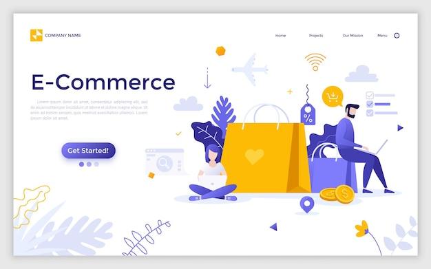 Strona docelowa z mężczyzną i kobietą siedzącą obok gigantycznych toreb na zakupy i pracy na laptopach i miejsce na tekst. e-commerce, sprzedaż internetowa, składanie zamówień online. ilustracja wektorowa kreatywnych płaskich.