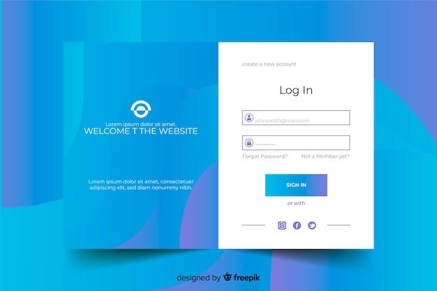Strona docelowa z niebieskim formularzem logowania