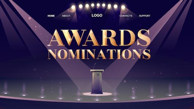 Strona docelowa z nominacjami do nagród