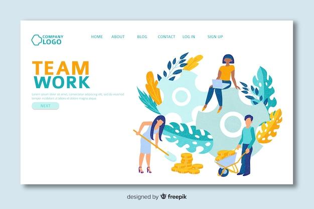 Strona docelowa z pracą zespołową i liśćmi