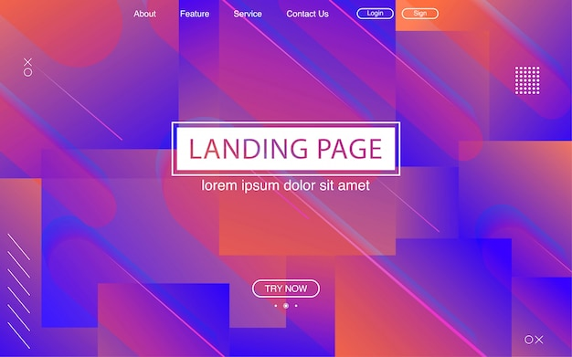 Strona docelowa z purpurowym gradientem