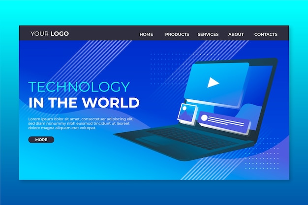 Strona docelowa z szablonem laptopa