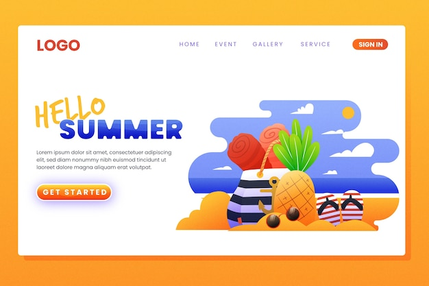 Strona docelowa z szablonem witaj lato