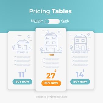 Strona docelowa z tabelami cen