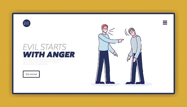 Strona docelowa z wściekłym szefem krzyczącym na zdenerwowanego pracownika biurowego, szablon tła witryny