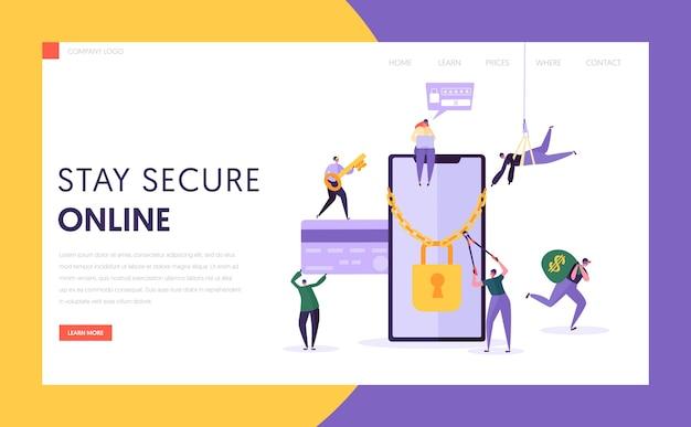 Strona docelowa zabezpieczeń płatności internetowych za pomocą telefonu. haker kradnie dane karty kredytowej z ekranu smartfona. witryna lub strona internetowa money credit crack protection. ilustracja wektorowa płaski kreskówka