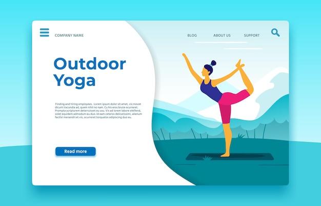 Strona docelowa zajęć jogi na świeżym powietrzu. joga odkryty baner, strona internetowa styl życia zdrowego sportu, ilustracji wektorowych. sportowa strona docelowa