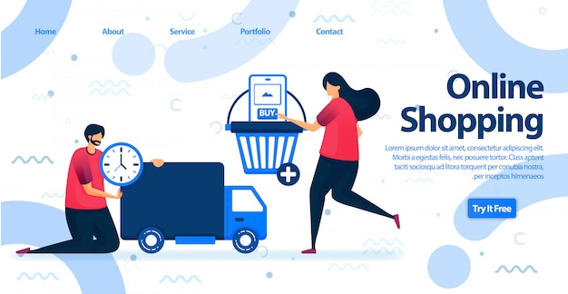 Strona docelowa zakupów online lub e-commerce.