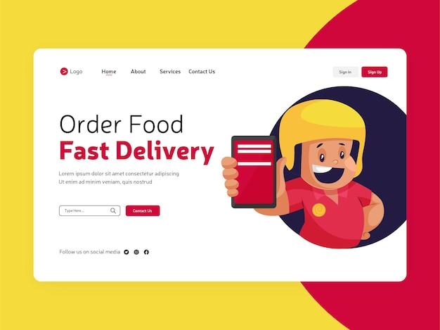 Strona docelowa zamówienia jedzenia online dla szablonu szybkiej dostawy