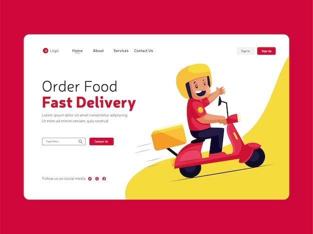 Strona docelowa zamówienia jedzenia online do projektowania szablonu szybkiej dostawy