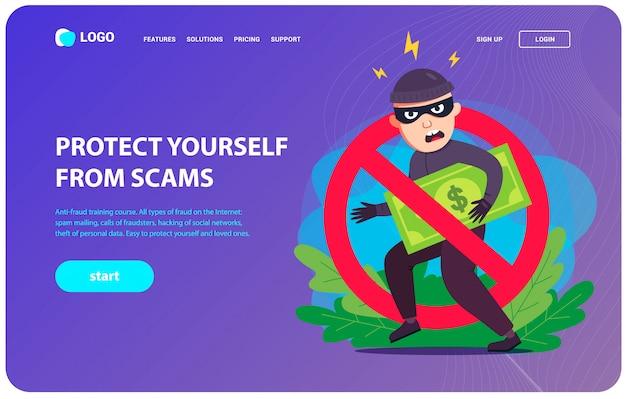 Strona docelowa zapobiegająca oszustwom. złodziej kradnie twoje pieniądze. ilustracja wektorowa płaski charakter.