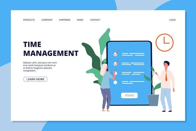 Strona docelowa zarządzania czasem. kobieta i konsultant biznesowy, lista zadań lub szablon strony internetowej aplikacji planowania.