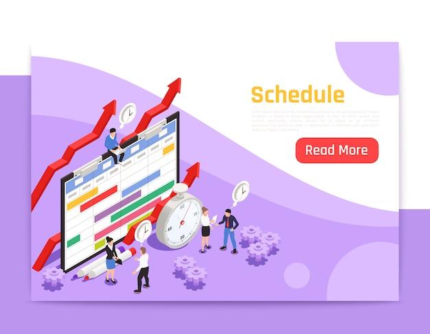 Strona docelowa zarządzania czasem z ikoną budzika i ludźmi wokół dużego obrazu izometrycznego harmonogramu pracy