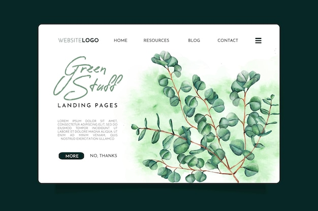 Strona docelowa zielonych rzeczy