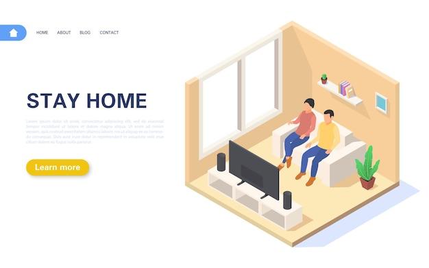 Strona docelowa zostań w domu. młoda para przebywa w domu w samoizolacji lub kwarantannie.