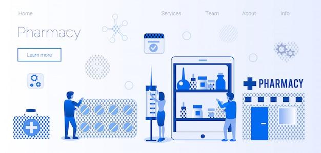 Strona e-commerce apteki z płaskim szablonem strony docelowej