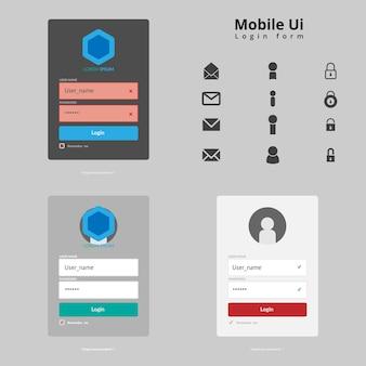Strona formularza logowania. elementy interfejsu użytkownika strony internetowej.