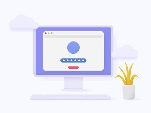 Strona formularza logowania i hasła do konta komputera 3d na ekranie. koncepcja strony uwierzytelniania logowania.