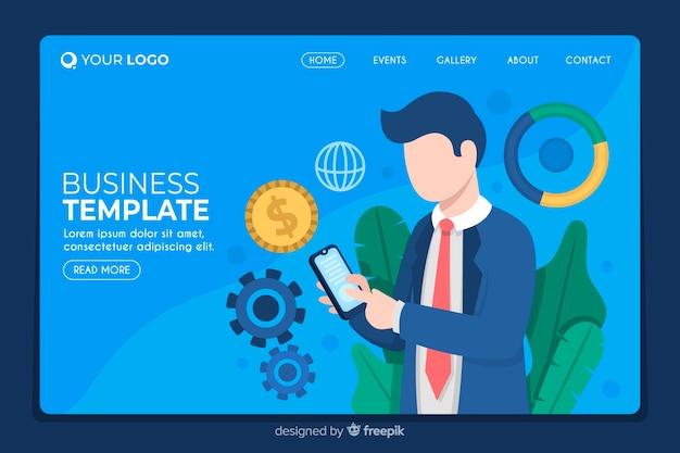 Strona główna firmy z ilustrowanym mężczyzną