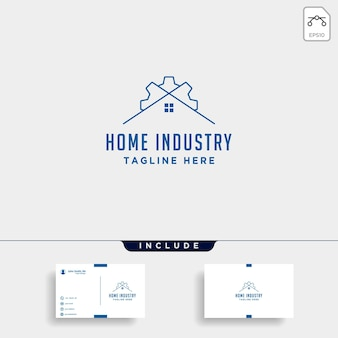Strona główna miasto projektowanie logo narzędzi przemysłowych przemysł wektor ikona linia na białym tle