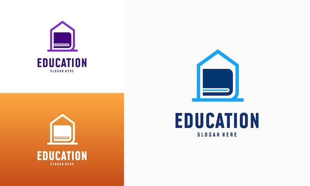 Strona główna nauka logo projektuje koncepcja wektor. szablon logo edukacji domowej, symbol nieruchomości