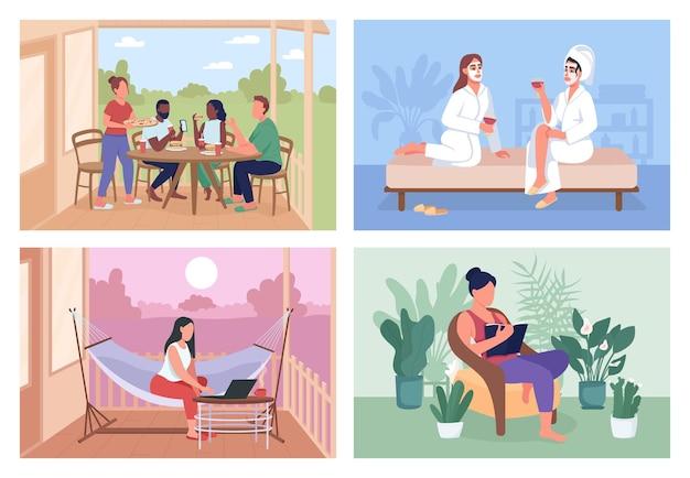 Strona główna płaski kolor wektor ilustracja zestaw. relaks latem. weekendowa rozrywka. przyjaciele postaci z kreskówek 2d z przytulną przestrzenią wewnątrz i na zewnątrz na kolekcji w tle