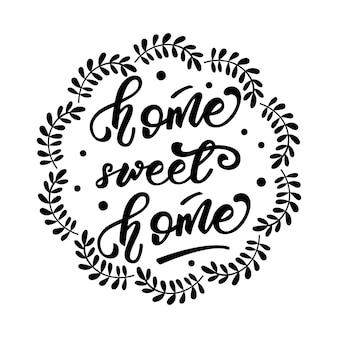 Strona główna, projekt napisu sweet home i wieniec kwiatowy. ilustracja wektorowa.