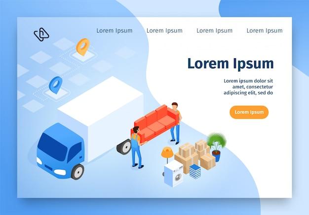 Strona internetowa firmy przeprowadzkowej izometryczny wektor