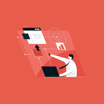Strona internetowa i aplikacja mobilna oraz koncepcja rozwoju, ilustracja do zarządzania przepływem pracy