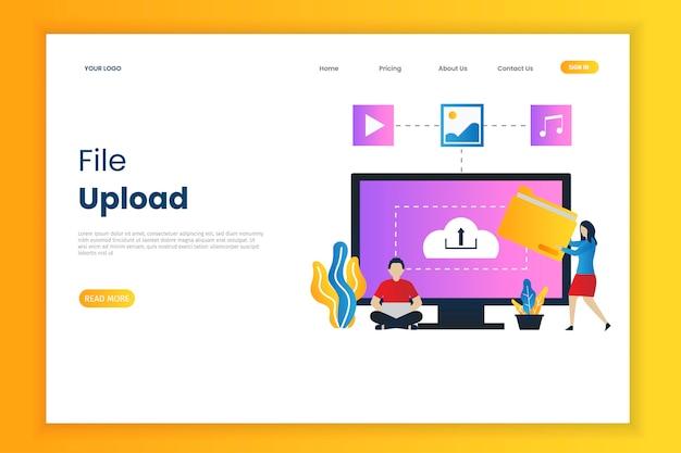 Strona internetowa ilustracji do przesyłania plików