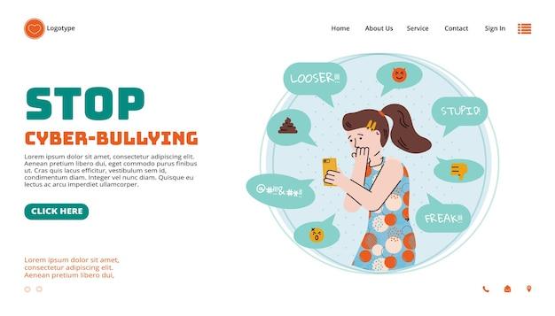 Strona internetowa infolinii dla ofiar cyberprzemocy płaskiej ilustracji wektorowych