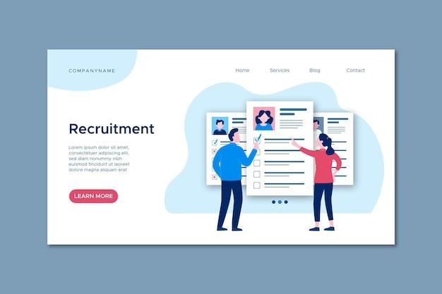 Strona internetowa koncepcji rekrutacji z ilustracjami