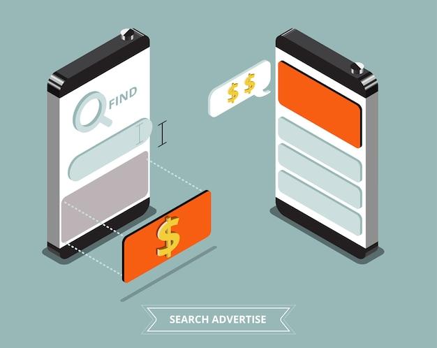 Strona internetowa na temat pozycji smartfona na sprzedaż, reklamuj przykład, zarabiaj na stronie internetowej. ilustracji wektorowych